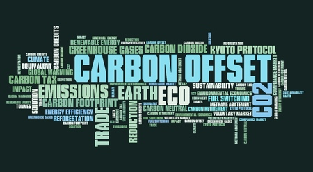 issues: Carbon offset - international environmental issues and concepts tag cloud illustration. Word cloud collage concept.