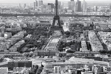 vintage paris: Paris, France - aerial city view Eiffel Tower and La Defense district. Black and white tone - retro monochrome style. Stock Photo