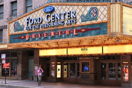 historic place: CHICAGO, USA - JUNE 26, 2013: People visit Ford Center for the Performing Arts Oriental Theatre. Oriental Theatre was founded in 1926 and is a registered National Historic Place.