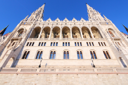 revival: Budapest, Hungary - national Parliament building featuring Gothic revival and Renaissance revival architecture. Sunset light.