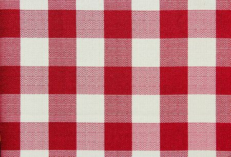 fabric patterns: Red and white checkered table cloth background. Textile pattern.