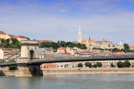 buda: Budapest, Hungary - Chain Bridge, Buda hill and Danube river. Stock Photo