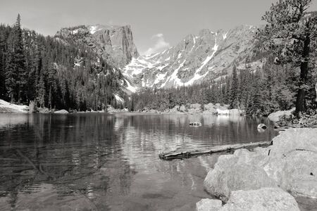 dream lake: Rocky Mountain National Park in Colorado, USA. Dream Lake view with Flattop Mountain. Black and white tone - retro monochrome color style. Stock Photo