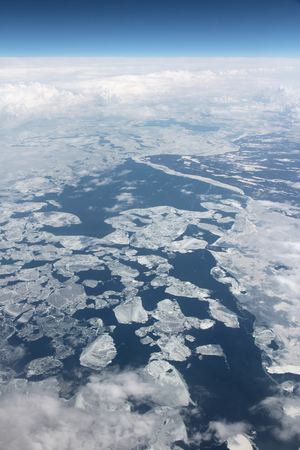 superior: Lake Superior - aerial view of drift ice.