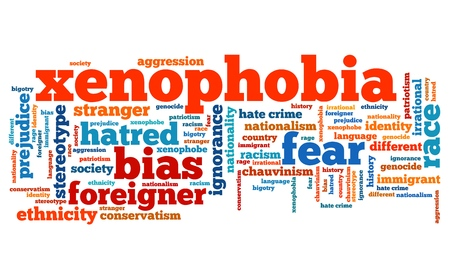 social issues: Xenophobia - social issues and concepts word cloud illustration. Word collage concept. Stock Photo