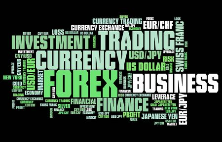 foreign currency: Forex - foreign exchange currency trading word cloud illustration. Tag cloud keyword concept. Stock Photo