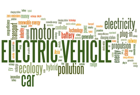 zero emission: Electric vehicle - transportation issues and concepts tag cloud illustration. Word cloud collage concept.