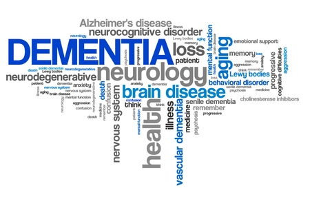 brain aging: Dementia - health concepts word cloud illustration. Word collage concept.