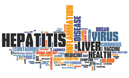 hepatitis vaccination: Hepatitis illness - health conceptual word cloud illustration. Word collage concept.