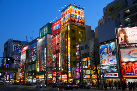 TOKYO, JAPAN - APRIL 12, 2012: People visit Akihabara shopping area in Tokyo. Stores in Akihabara are considered one of best electronics shopping destination in the world (TripAdvisor).