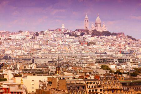 Montmartre skyline with famous Basilica Sacre Coeur. Paris, France. photo