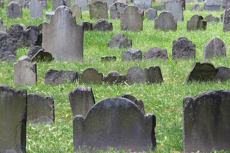 burying: Boston, Massachusetts in the United States. Granary Burying Ground - old cemetery. Stock Photo