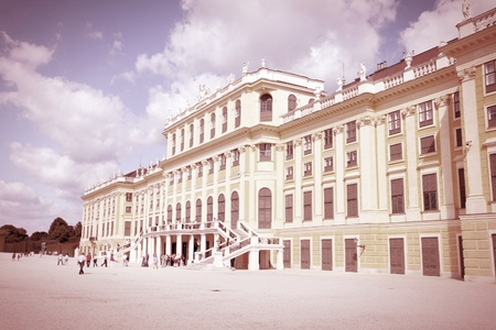 schonbrunn palace: Vienna, Austria - Schoenbrunn Palace, Retro color style - cross processed filtered colors tone.