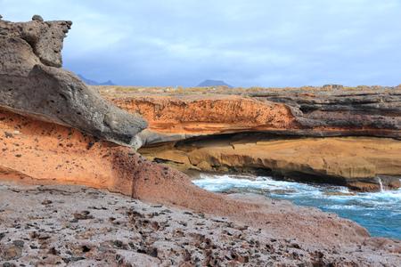 adeje: Tenerife island, Spain - beautiful sandstone bay at El Puertito. Part of Costa Adeje coast.
