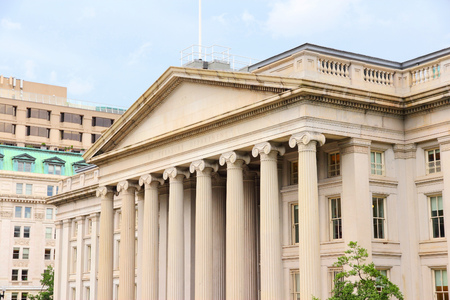 treasury: Washington DC, capital city of the United States. Treasury Department building.