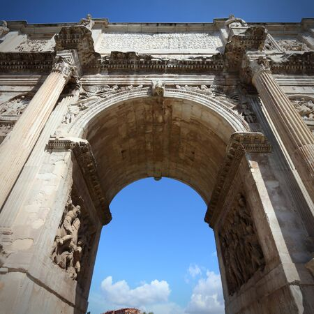 palatine: Italy - Rome. Famous triumphal arch - Arch of Constantine on Palatine Hill. Square composition.
