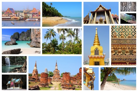 Travel photo collage from Thailand. Collage includes major landmarks like Bangkok, Ayutthaya, tropical beaches and Maya Bay.