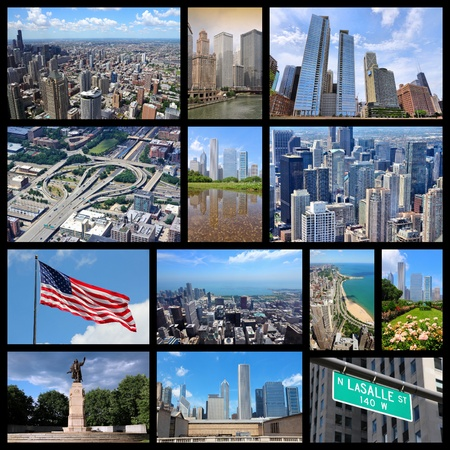 Photo collage from Chicago, United States. Collage includes major landmarks like city skyline, the Loop and Gold Coast of Lake Michigan.
