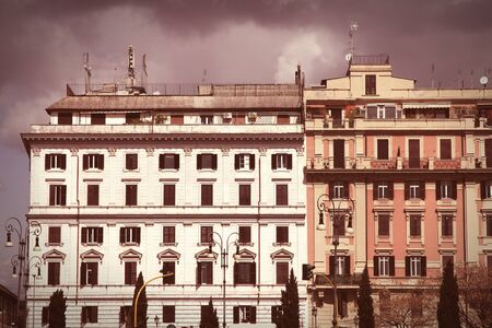cross processed: Rome, Italy - Street view and Mediterranean architecture. Cross processed color style - retro image filtered tone.