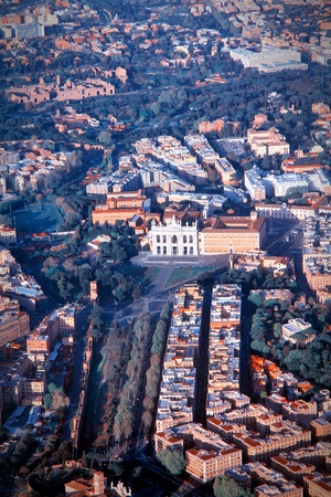 cross processed: Rome, Italy - aerial view with Lateran Basilica. Cross processed color style - retro image filtered tone. Stock Photo