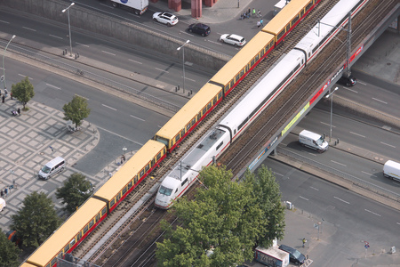 intercity: BERLIN, GERMANY - AUGUST 26, 2014: People ride Intercity train in Berlin. In 2009 ICE Express trains carried more than 77 million passengers.