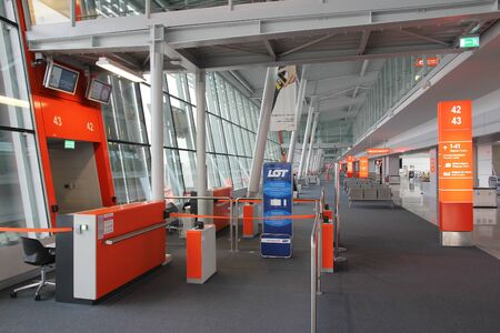 chopin: WARSAW, POLAND - APRIL 1, 2014: Interior view of Warsaw Chopin Airport. The airport served 10.68 million passengers in 2013.