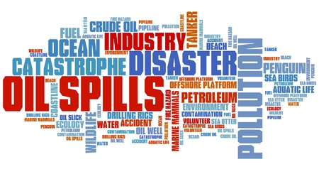 environmental disaster: Oil spills - environmental issues and concepts word cloud illustration. Word collage concept.