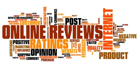 reviews: Online reviews - internet concepts word cloud illustration. Word collage.