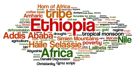 word collage: Ethiopia - African country word cloud illustration. Word collage.