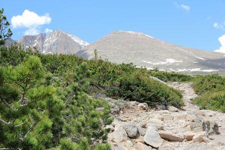 longs peak: Colorado - Rocky Mountain National Park in USA. Tourist trail to famous Longs Peak.
