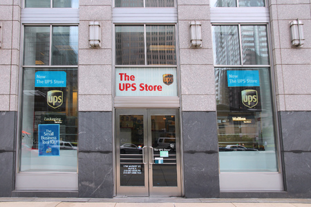 ups: PHILADELPHIA, USA - JUNE 11, 2013: UPS Store in Philadelphia. UPS Store is a subsidiary of famous United Parcel Service. There are 4,700+ UPS Stores in the US, Canada and Puerto Rico.