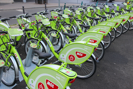 mol: BUDAPEST, HUNGARY - JUNE 19, 2014: BuBi bicycle sharing station in Budapest. Service started in 2014, has 1,100 bicycles and 76 sharing stations. Editorial