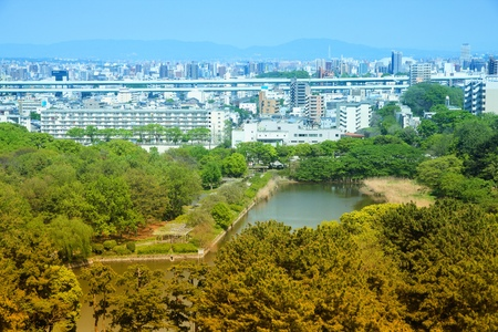 chubu: Nagoya, Japan - city in the region of Chubu in Aichi prefecture. Aerial view with Castle Park. Retro tone color effect - filtered colors style. Stock Photo