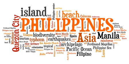 archipelago: Philippines tag cloud illustration. Country word collage.