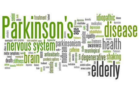 parkinson's: Parkinsons disease problems - health concepts word cloud illustration. Word collage concept.