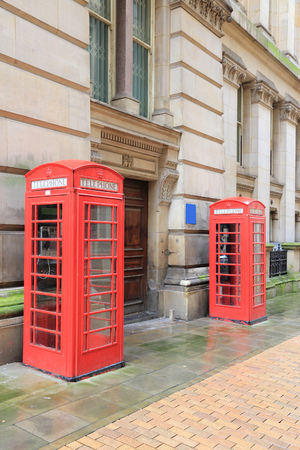 birmingham: Birmingham red telephone boxes. West Midlands, England. Stock Photo