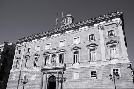 generalitat: Barcelona - Palau de la Generalitat de Catalunya. Presidency of the Generalitat de Catalunya. Architecture landmark. Black and white tone - retro monochrome color style.