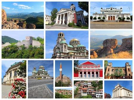 collage travel: Bulgaria country photo collage. Travel photos set with Sofia, Ruse, Veliko Tarnovo, Vidin and Belogradchik.