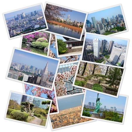 Tokyo, Japan photos set. Collage includes major landmarks like Shinjuku ward, Ueno park, Chiyoda and Bunkyo. photo
