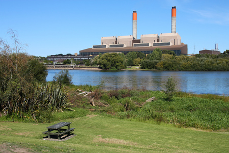 power operated: HUNTLY, NEW ZEALAND - MARCH 14, 2009: Exterior view of Huntly Power Station in Waikato region of New Zealand. The plant operated by Genesis Energy supplies 20 percent of countrys power needs. Editorial