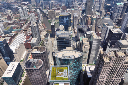 north american: Chicago, Illinois (USA). City architecture aerial view. Stock Photo
