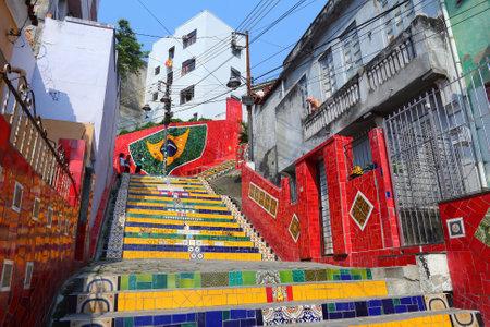 rio de janeiro: RIO DE JANEIRO, BRAZIL - OCTOBER 19, 2014: People visit Selaron Steps in Rio de Janeiro. The landmark was created by Chilean born artist Jorge Selaron in 1990-2013. Editorial