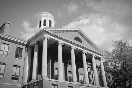 harvard university: Cambridge, Massachusetts in the United States. Famous Harvard University - Edward Mallinckrodt chemical laboratory. Black and white tone - retro monochrome color style. Stock Photo