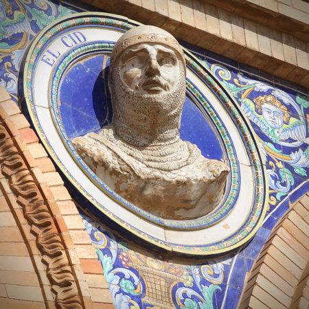 cid: Bust of famous El Cid, Spanish hero in Plaza de Espana, Seville, Spain. Square composition.
