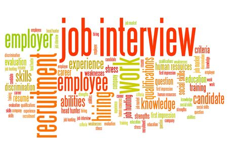 Job interview issues and concepts word cloud illustration. Word collage concept. illustration