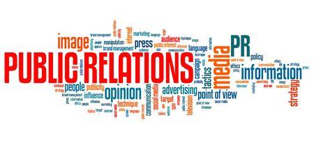 relaciones publicas: Relaciones p�blicas - asuntos corporativos y conceptos palabra nube ilustraci�n. Collage concepto Palabra.