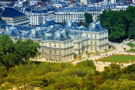 filtered: Paris, France - aerial cityscape with Luxembourg Palace. Filtered style colors. Editorial