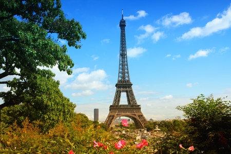 trocadero: Paris, France - cityscape with Trocadero gardens and Eiffel Tower. Filtered style colors.