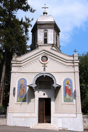 virgen maria: Bucarest, capital de Rumania. Schitul Iglesia Magureanu dedicada a Presentaci�n de la Sant�sima Virgen Mar�a. Foto de archivo