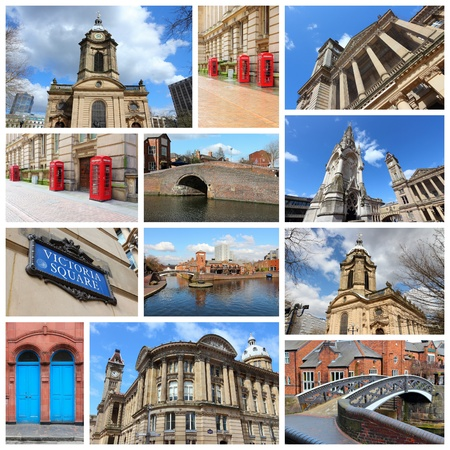 philips: Travel photo collage from Birmingham, UK. Collage includes major landmarks like Art Gallery, Saint Philips Cathedral and red telephone booths. Editorial